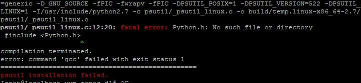 psutil/_psutil_linux.c:12:20: fatal error: Python.h: No such file or directory  #include  宝塔