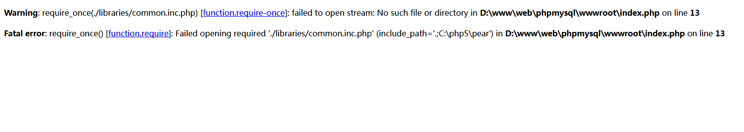 Warning: require_once(./libraries/common.inc.php) [function.require-once]: failed to open stream: No