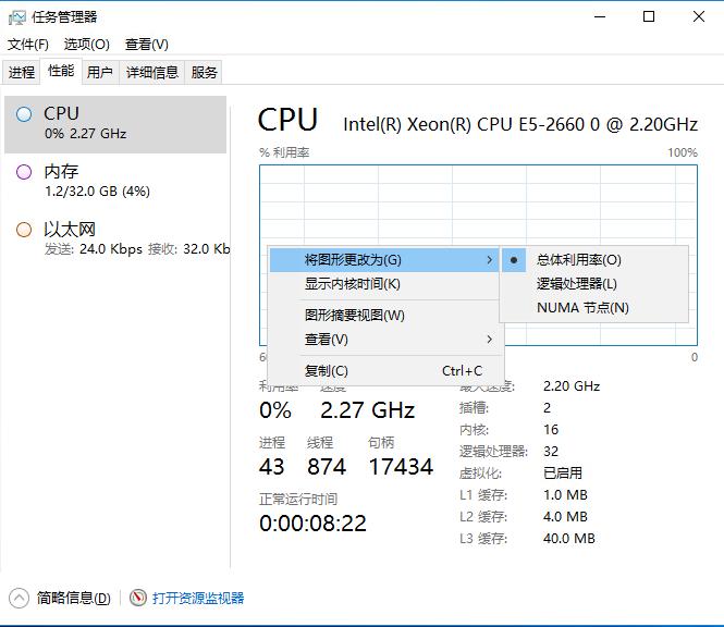 任务管理器CPU核心的状态 任务管理器怎么不显示cpu核心数 任务管理器cpu显示核心不对 怎么设置