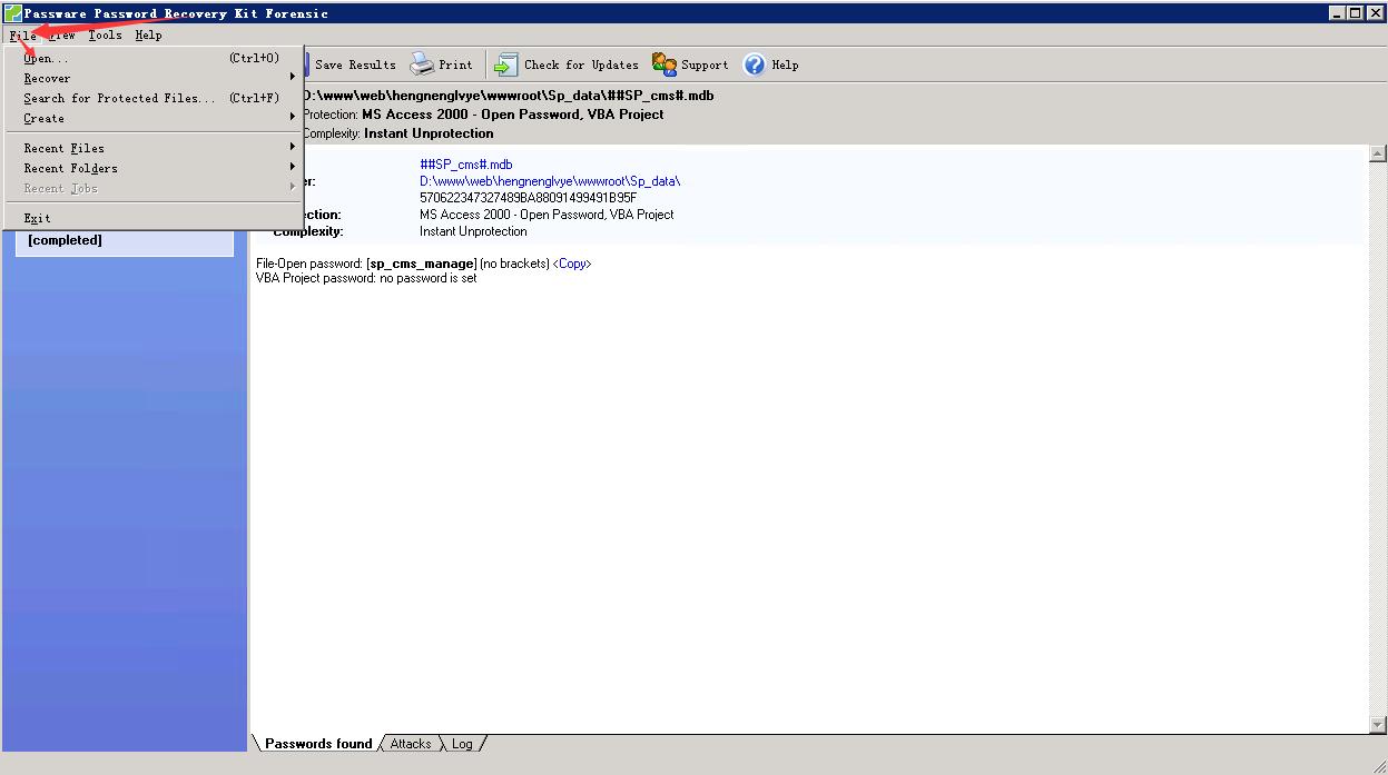 Sp_cms aspcms 忘记后台密码 .mdb数据库编辑支持密码 Passware Password Recovery破解密码