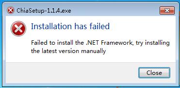 failed to install the .NET Framework